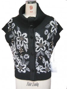 Black Embroidery Sleeveless Sweater factory