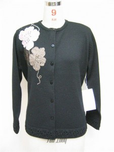 Hand Embroidery Sweater factory Knits Black Flower