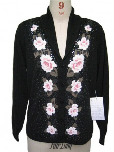 Black Flower Intarsia Sequins Sweater factory