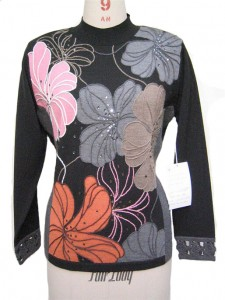 Black Intarsia factory Embroidery Sweater Knits