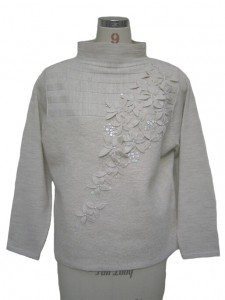 White Hand Embroidery Sequin Sweater Knits factory