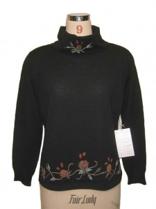 Hand Embroidery Black Sweater factory Knits