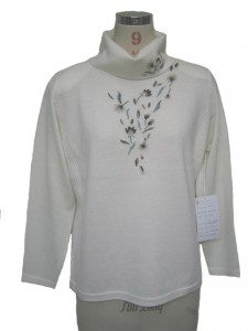 Turtleneck Cotton Sweater factory Knits Hand Embroidery White