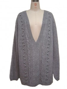 Long Grey Cable Sweater Knit