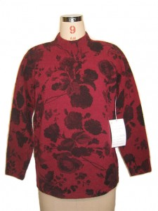 Red Jacquard Sweater factory Knits Red Big Flowers