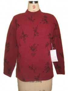 Jacquard Sweater Knits factory Red Small Flowers