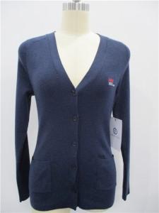 Wool Cardigan Sweater Knit Navy Blue