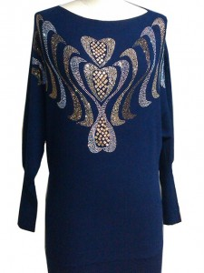 Beaded Sweater factory Knits Blue Dress