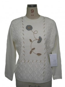 White Hand Embroidery Sweater factory Knits
