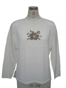 White Intarsia Sweater factory Knits Flowers