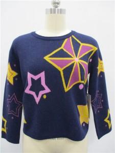 Cashmere Intarsia Knit Sweater Factory China