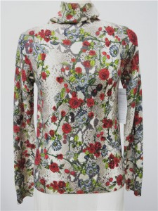 cashmere printed floral sweater