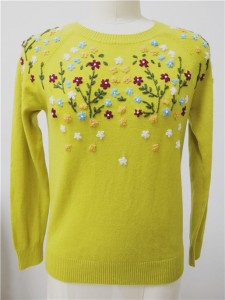 wool knit sweater hand embroidery knitwear