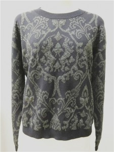 wool lurex jacquard sweater black knits long sleeve