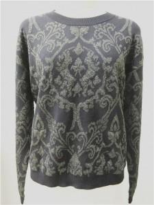 wool lurex jacquard sweater black knits long sleeve
