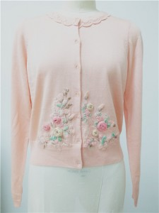 wool pink sweater long cardigan
