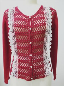 red sweater cardigan
