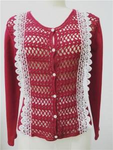 red sweater cardigan