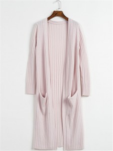 pink long sweater knit cardigan
